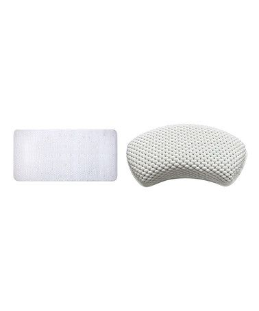Take a look at this White Cushioned Bath Mat & Bathtub Pillow Set by Ginsey on #zulily today!