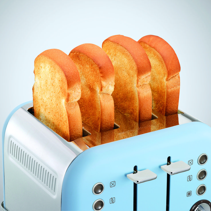 Special Edition Azure Accents 4 slice Toaster from Morphy Richards. Limited colour availability , celebrating our 80-year anniversary as a leading premium home appliance brand.