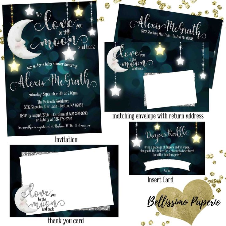 baby shower invitation wording for bringing diapers%0A love you to the moon and back Baby Shower Invitation Set thank you diaper  raffle