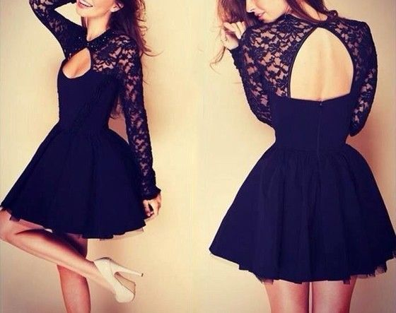 Black Patchwork Pleated Hollow-out Backless Lace Dress