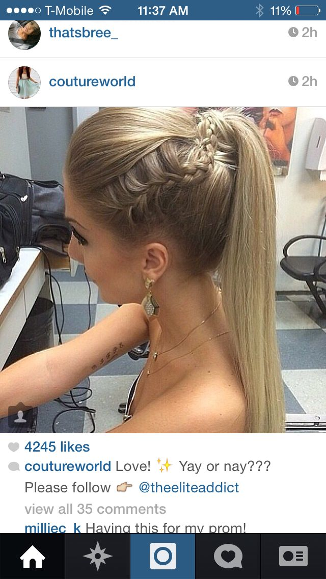 Straight ponytail with braid