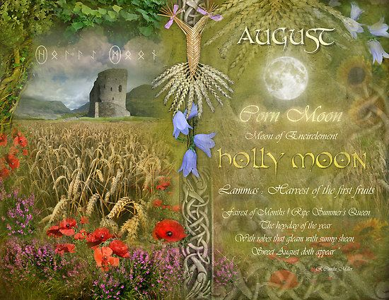 """Book of Shadows Moon:  """"August: Holly Moon,"""" by Angie Latham. It makes a lovely Moon page for a Book of Shadows."""