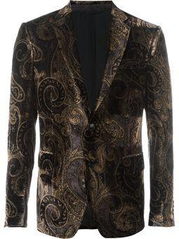 printed velvet blazer