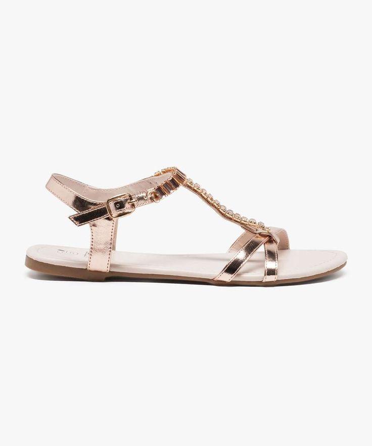 Sandales plates dessus bijou