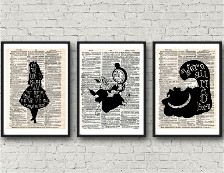 Alice in Wonderland Prints, Dictionary Wall Art, White Rabbit, Cheshire Cat, Wall Prints, Instand Download Wonderland Art by KleezPrints on Etsy