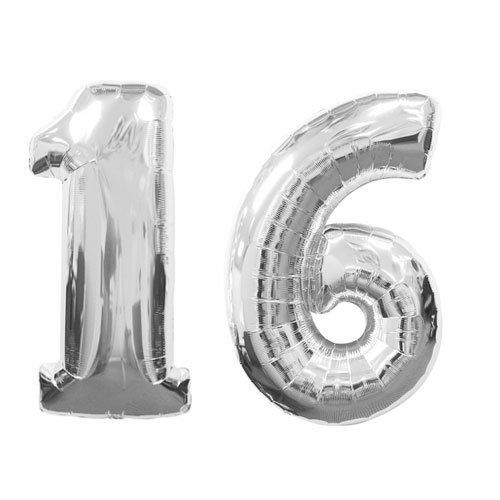Pink Silver and Black Sweet 16. I'd use this big number 16 balloon in silver. Maybe on black tablecovers with Pink Sweet 16 Confetti scattered all over