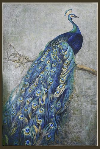 Fantastic Peacock on Canvas with silver metallic background... 6' tall!