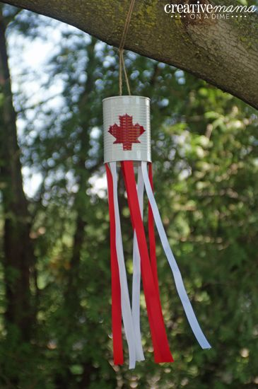 Canada Flag Windsock. Can, paint and streamers/ribbon http://www.creativemamaonadime.com/2013/06/canada-flag-windsocks.html