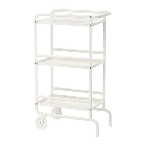 $29.99 for kitchen by fridge SUNNERSTA Utility cart IKEA Gives you extra storage, utility and work space.