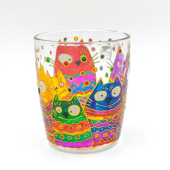 Rainbow Crazy Cats Mug Hand Painted Gift Coffee Tea