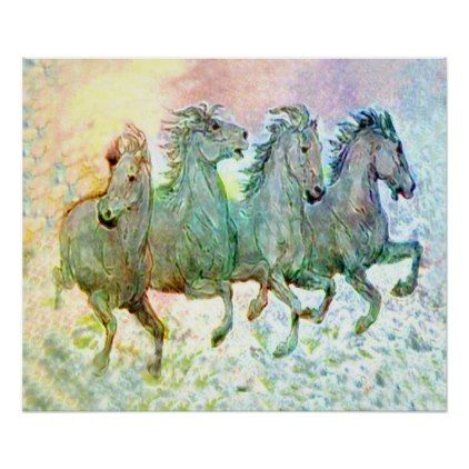 Horses Running on the Beach Poster - horse animal horses riding freedom
