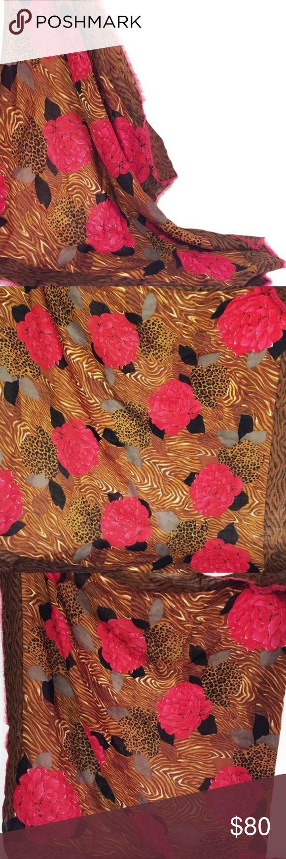 Oscar de la renta cheetah wool floral scarf wrap Oscar de la renta cheetah floral wool scarf Oscar de la Renta Accessories Scarves & Wraps