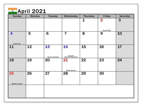 April 2021 Calendar PDF, Word, Excel Templates in 2020 ...