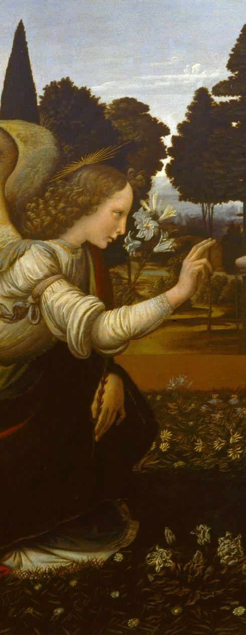 Leonardo da Vinci - L'annunciazione - Uffizi, Firenze  Note the fashionably shaved eyebrows and hairline.