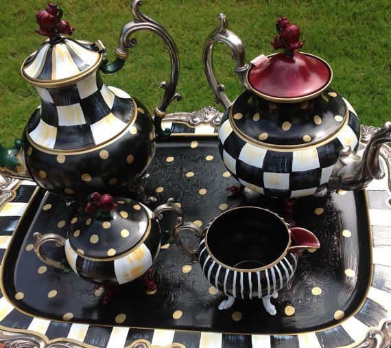 Custom Hand Painted Large Silver Tea Sets by paintingbymichele