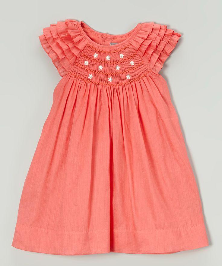 Vestido anaranjado de la margarita Smocked Angel-manga - Infant & Toddler | zulily