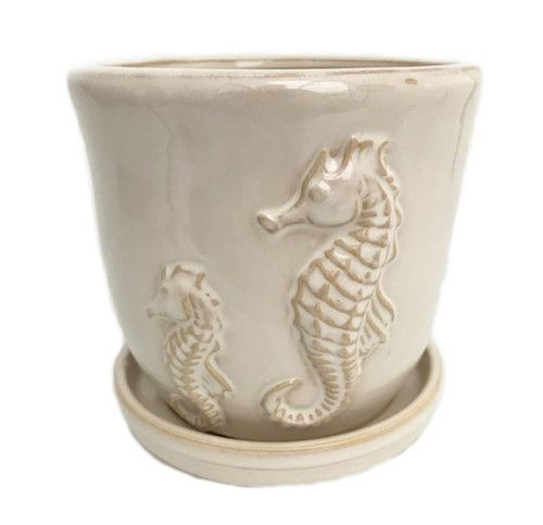 "Sea Horse Ceramic Pot and Saucer plus Felt Feet - Beige - 5.5"""" x 5.75"""""