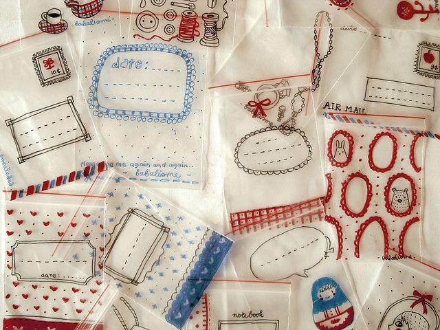 Illustrated plastic bags: Gift Bags, Plastic Bags, Sharpie Decorated, Ziplock Bag, Diy, Craft Ideas, Sharpie Craft, Crafts