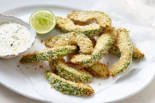 I've made zucchini and sweet potato fries using parmesan crumb, but think avocado with panko crumbs looks lovely too :)
