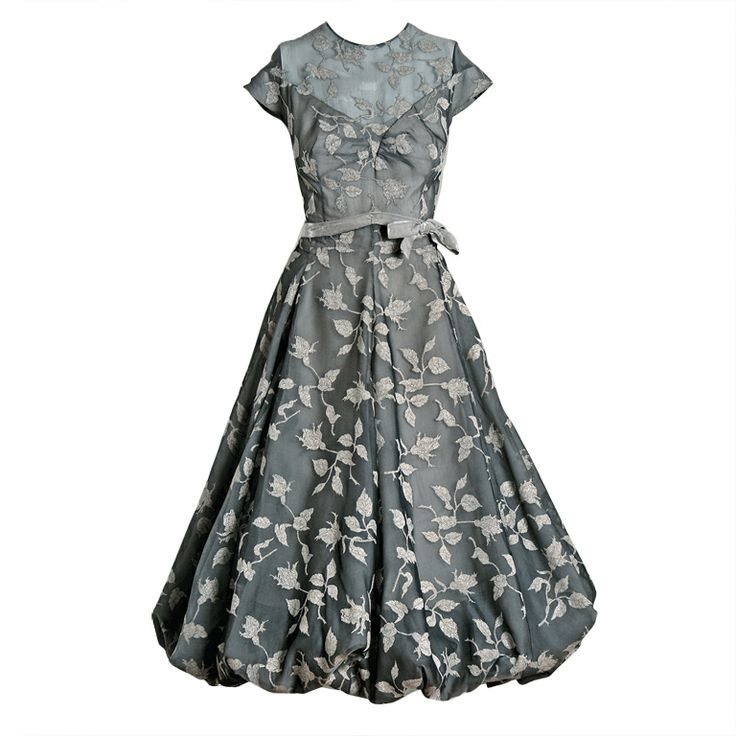 1950's Madame Gres Vintage Haute-Couture Metallic Rose-Print Silk Bombshell Draped-Bubble Wedding Party Dress