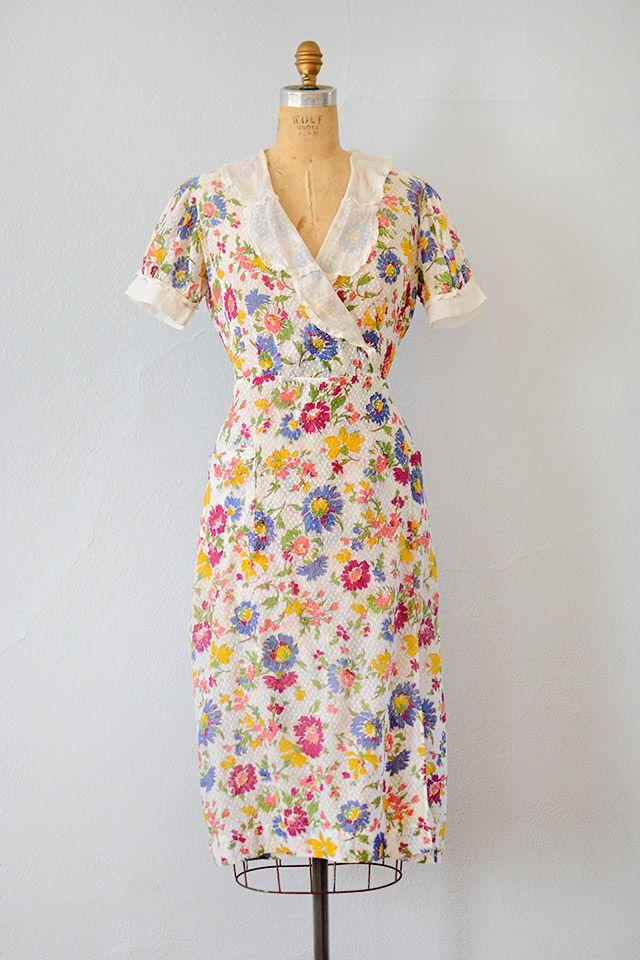 vintage 1930s dress   30s vintage floral dress #1930s #30s #30svintage