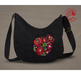 Szervető-matyó félhod táska - fekete