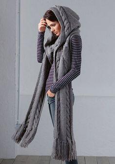 Шарф-капюшон из журнала Burda вязаный спицами и крючком / Уникальный шарф-капюшон служит головным убором и шарфом одновременно! Он защитит от ветра и стужи, не навредит вашей прическе, а убережет ваш макияж во время дождя и снега. Самый невзрачный повседневный[...]