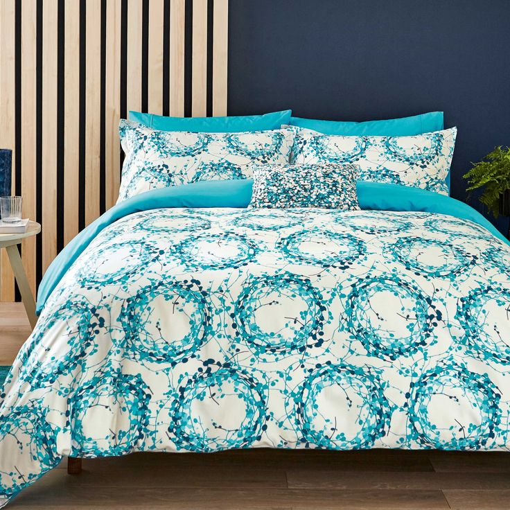 Clarissa Hulse Bedding, Halo Single Duvet Cover Set, Turquoise at Bedeck 1951