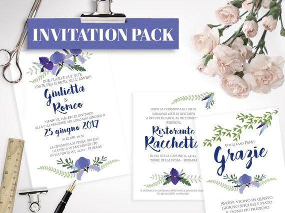 Kit Matrimonio Iris Blu STAMPABILE di lolobottega su Etsy - Annuncio della cerimonia -  Invito al matrimonio con i dettagli della festa - Biglietto di ringraziamento - Nome tavolo - Menù - Segnaposto