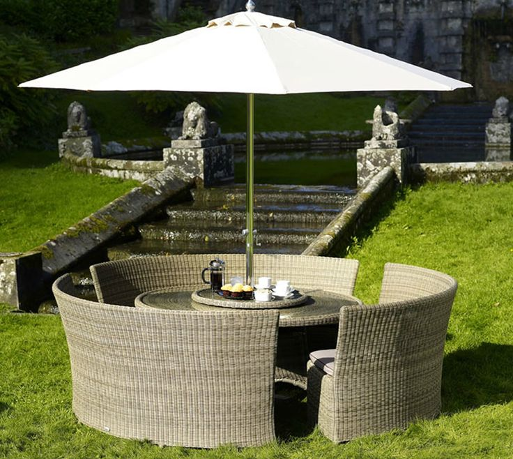 stunning outdoor patio sets with umbrella above glass round table and sofa rattan