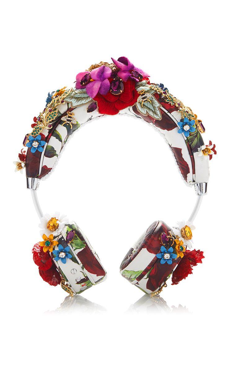 White Floral Rose Headphones by DOLCE & GABBANA for Preorder on Moda Operandi