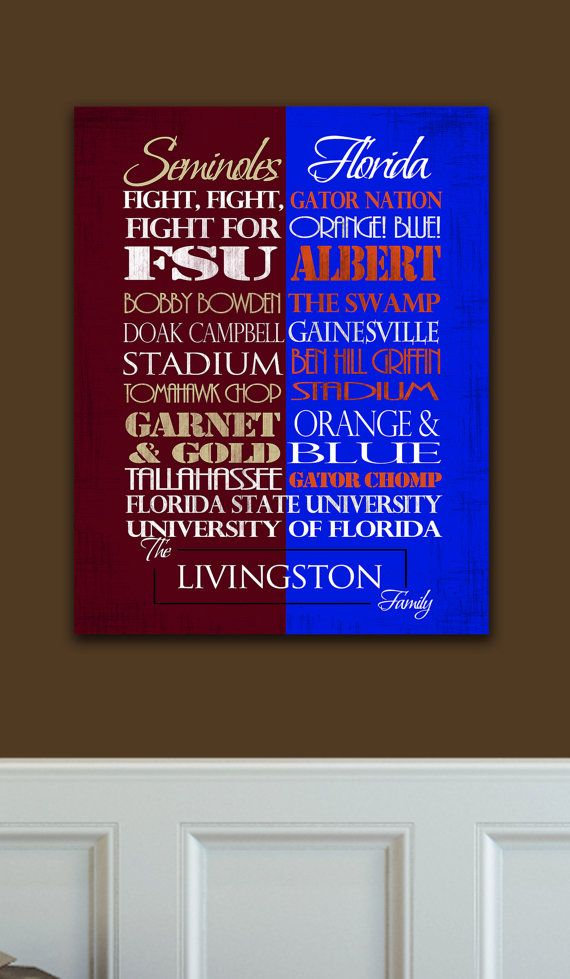 Florida State Seminoles / University of Florida Gators House Divided Ready to Hang Standout