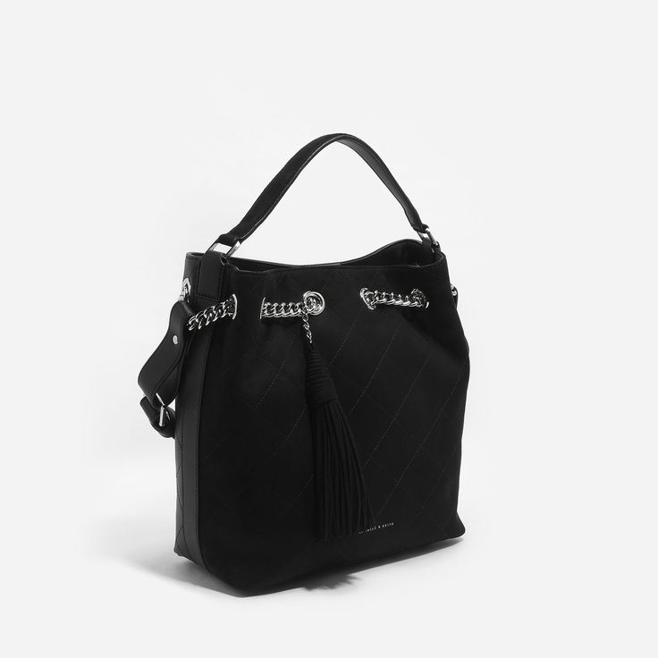 Black Quilted Hobo Bag|CHARLES & KEITH