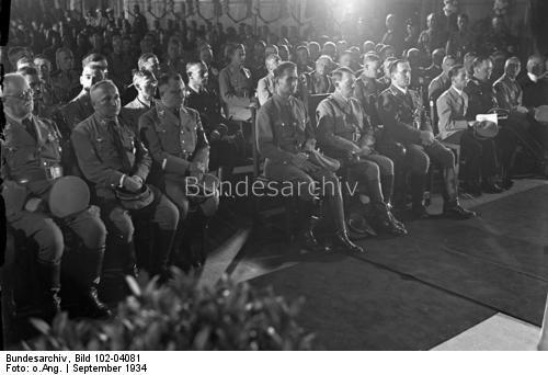 Schatzmeister Schwarz, Dr. Robert Ley, Martin Bormann, Rudolf Hess, Adolf Hitler, Oberbürgermeister von Nürnberg Liebel, Dr. Goebbels, Darré und Dr. Frick.