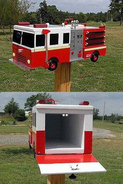 Fire Truck Mailbox   Shared by LION