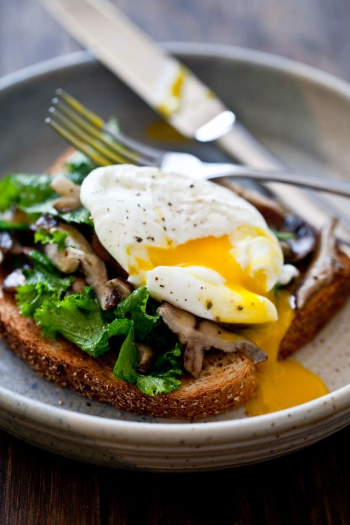 [Mushroom & Wilted Greens Toast with a Poached Egg] Whole wheat or multi-grain bread, olive oil, garlic clove, mushrooms, (mustard green, kale or chard). Dijon mustard, large eggs, white vinegar, salt & pepper.