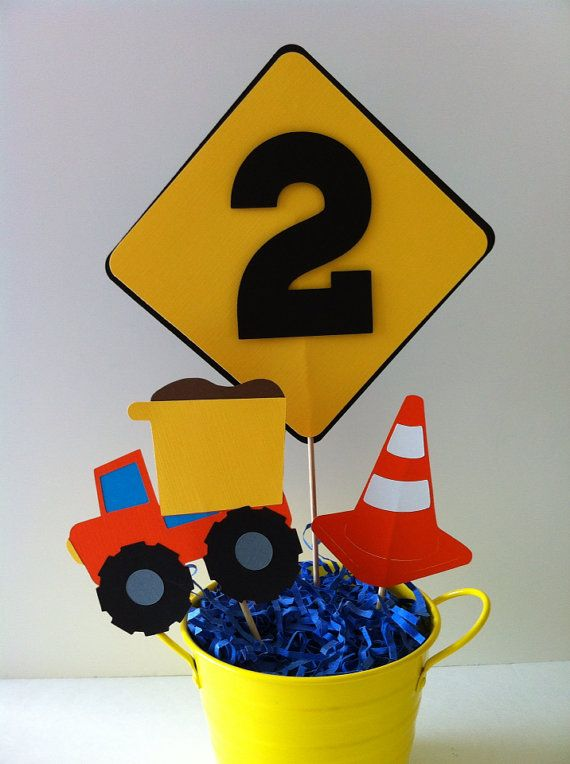 Under Construction Theme Centerpiece Toppers By