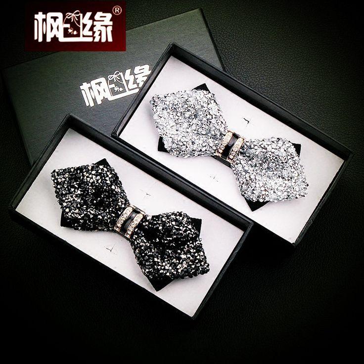 галстук галстук галстуки для мужчин жених лучший мужчина свадебное платье черный белый Алмаз роскошный галстук