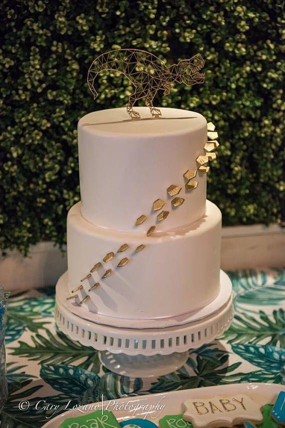 T Rex Cake Topper Dinosaur Geometric Birthday