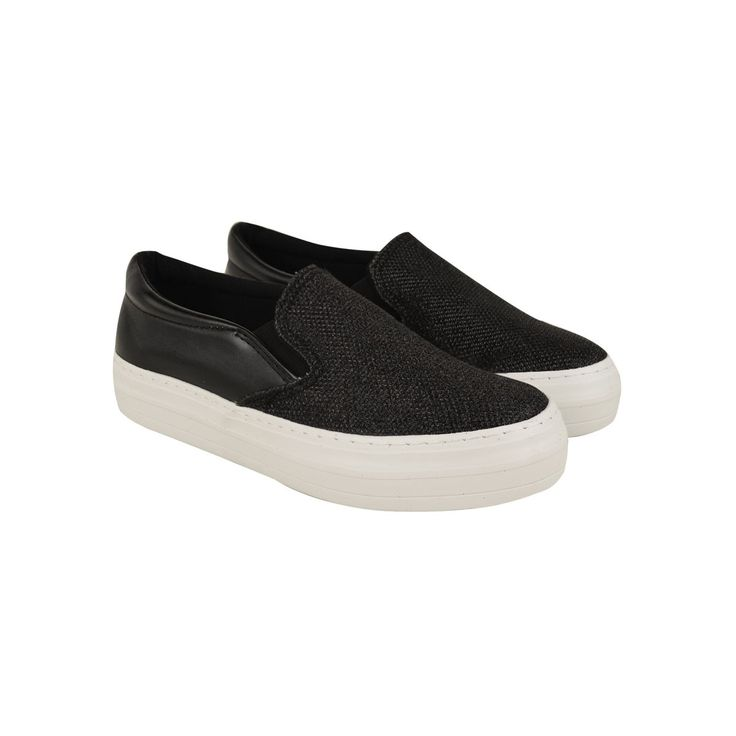 Black Faux Leather Flat Platforms Chunky Thick Sole Slip On Skate Trainers - Sparky