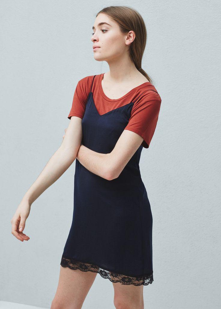 Lace appliqué dress - Dresses for Woman | MANGO United Kingdom