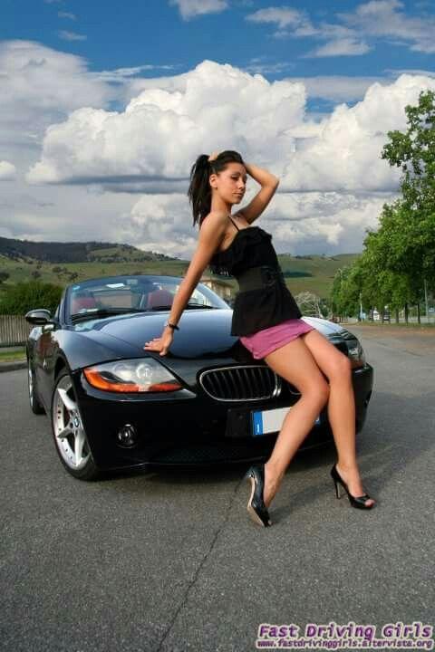 Ary Fashion Bmw Z4 2 5i Black Car She Is Sitting Down