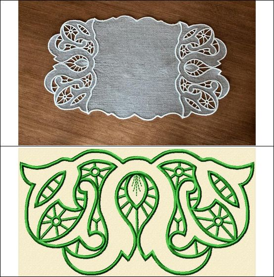 """Venice"" Add a touch of romantic Venice to your decor, when you use the designs in this set to create a gorgeous, cutwork doily, inspired by antique cutwork over 100 years old! Complete instructions are included!  #machinecutwork #cutworkembroidery #doilydesigns #machineembroiderydesigns"