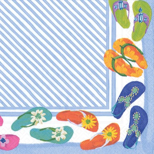 Inside A Tiny Florida Cottage Full Of Tropical Colors: Caspari Fancy Feet Flip-Flops Beach Shoes Printed 3-Ply