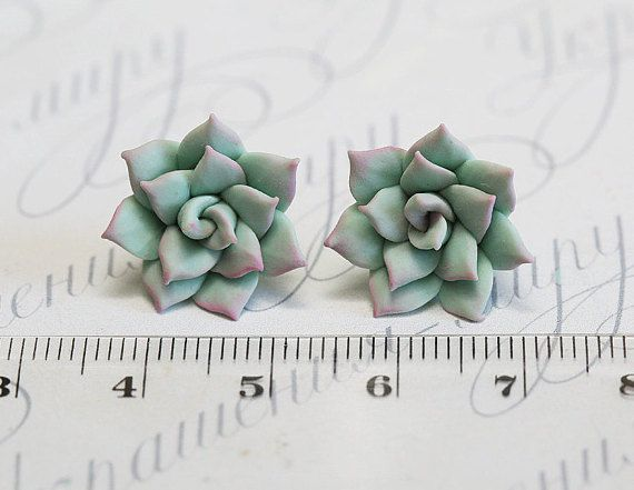 Mint Succulent Earrings. Polymer clay succulent Stud earrings. Polymer clay jewelry Miniature Plant Earrings Post. Wedding Succulent Jewelry