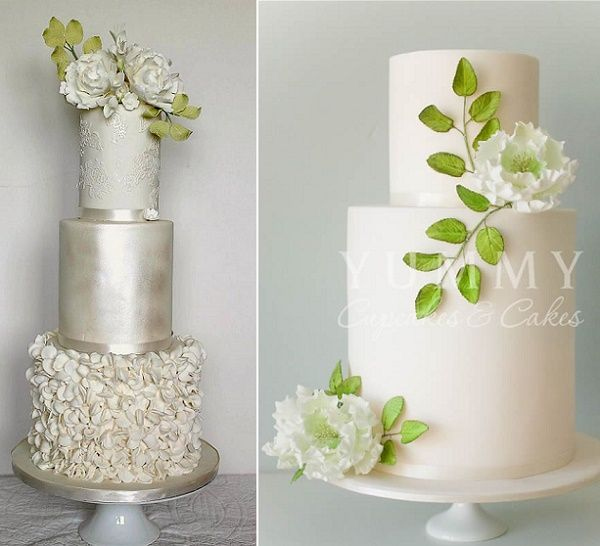 Greenery and white floral wedding cakes by  Rosewood Cakes left, Yummy Cupcakes and Cakes right