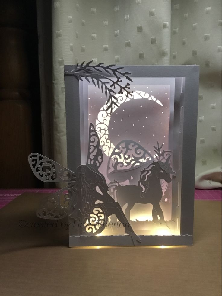 Lighted diorama card made with tattered lace usb Mystical and special shapes usb, using my ScanNCut CM900.