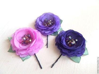 фиолетовые, лиловые,фиалковые, сиреневые, розы, цветы, маленькие, заколки, невидимки, яркие, темные, волосы, украшение, невеста, выпускной, подарок, девочка, девушка, сиреневый букет, фиолетовый букет, зима, праздник, фиолетовые заколки розы, сиреневые розы заколки,букетик из роз, украшение для волос, лето, выпускной
