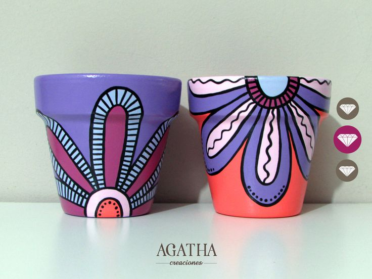 macetas pintadas a mano - flores