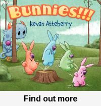 Bunnies!!! / Kevan Atteberry. comic strip format. Monster loves the Bunnies! Great Easter or Comic Book Month